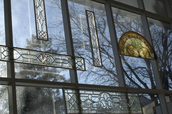 A view of the stained glass decorations at the Mershon Center