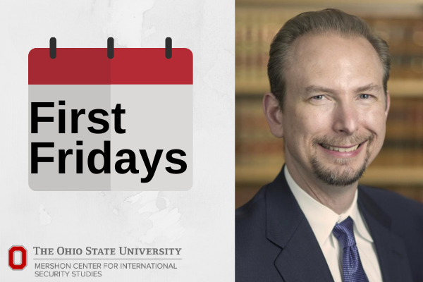 "graphic with text of ""first fridays"" and headshot of speaker"