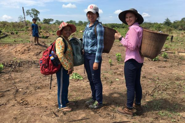 Erin Lin with Cambodian Farmers