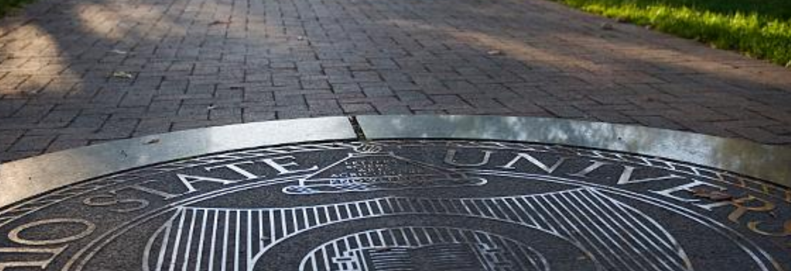 Ohio State seal outdoors on campus during summer.